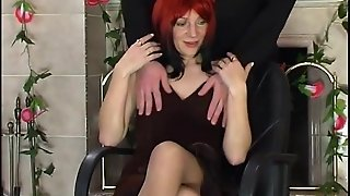 Russian Pantyhose Redhead Blowjob And Pantyhose Fuck