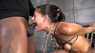 Messy Face Fucking Of A Tied Up Brunette Chick