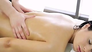 Massage Teen Fingered On Massage Table