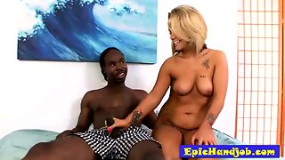Busty Blonde Jerks Off A Black Cock