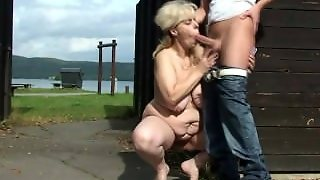 He Finds And Bangs Blonde Granny In The Changing Room