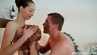 Lucky Dude Fucks Massive Chocolate Boobs Of Sex Appeal Young Housewife