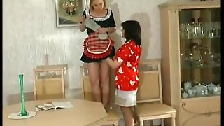 Lesbian Maid Cleans Shelves And Old Pussy With Tongue