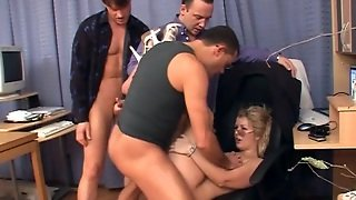 Office Gangbang With Busty Secretary In Black Dress And Glasses