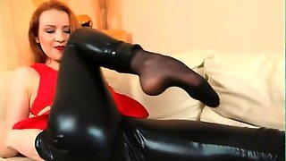 Subtle Black Pantyhose And Redhead Strip Video 2