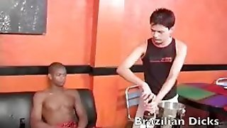 Brazilian Guy Stroking His Dick Gets Some Ass