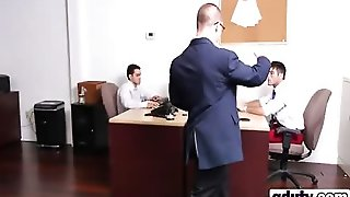 Office Man Meat Sucking Each Other Dicks In Threesome