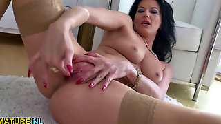 Milf Masturbating In Stockings