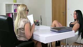 Female Agent With Strap On Dildo