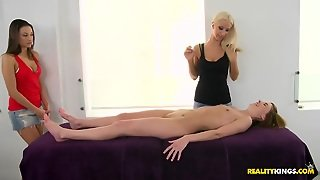 Oiled, Closeup, White, Blonde, Lesbian, Massage, Pussy, Cute, College, Reality, Skinny