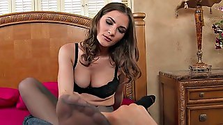 Molly Jane Wearing Pantyhose Gives Nice Footjob To Her Lover