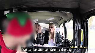Christmas Threesome Banging In Taxi