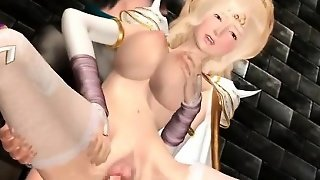 Hentai Blonde Gets Cum Shot On Her Big Boobs And Pussy