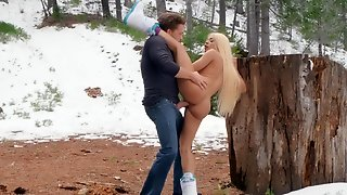 Huge Cock Hardcore In The Snow With A Blonde Bimbo