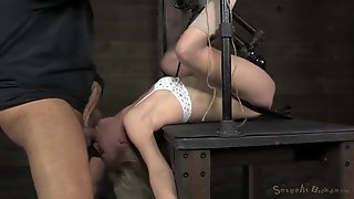 Petite Chick In A Bondage Device For Mouth Fucking