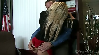 Office Perverts Blonde On The Table