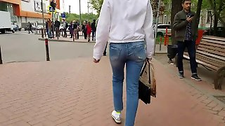 Blonde's Ass In Blue Jeans