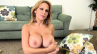 Huge Tit Alyssa Lynn Rides His Wanker, Eats Cum And Shows Her Nice Tits