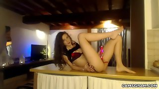 Sensual Brunette Amateur Riding A Dildo