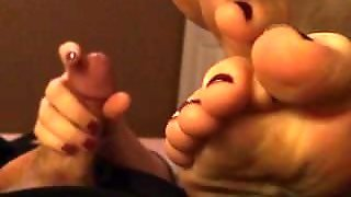 Pov Handjob With Some Feet In Ya Face!