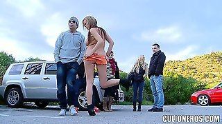 Busty And Slutty Chick Candy Alexa Is So Horny That She Will Suck A Cock In Public No Matter The Time Of Day. See This Wild Chick Sucking On A Huge Hose With Tons Of People Around Her.