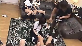 Lustful Asian Schoolgirls Invite A Group Of Guys For An Exc