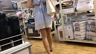 19Yr Old Cute Skirt Teen Shopping With Mom