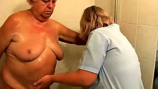 The Nurse Bathes Old Fat Granny In Bathroom