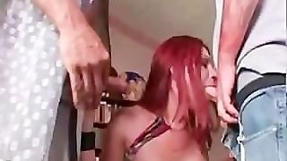 Two Cocks For Redhead Shemale Tranny