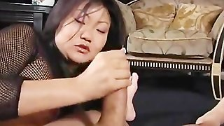 Lucy Lee In Fishnet Stockings Handjob