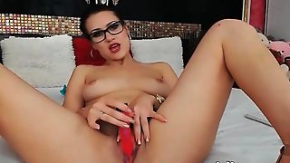 Brunette With Glasses Fingering At Webcam