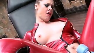 Two Lesbians Climax In The Latex Dungeon