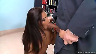 The Hot Brunette Cipriana Makes A Beautiful And Hard Blowjob For Her Husband James Brosman. Then She Demonstrates Wonderful Ass And Pussy, After Then He Licks Her Vagina Very Tender.