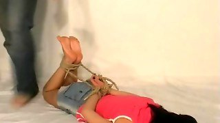 Hot Tied Teen Gets Her Feet Whipped