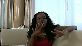 Black Girl Tianna Love Is Very Hungry Today. After Some Dirty Talks She Deals With White Young Guy Who Has Big Dick And Who Is Ready To Work With It Productively!