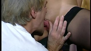 Curly Haired German Milf Swallows
