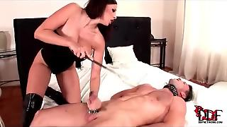 She Dominates Him And Gives A Blowjob