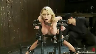 Busty Bound Blonde Machine Fucked And Clit Vibrated