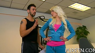 Busty Blonde Gets Fucked By Her Fitness Instructor