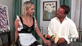 French Maid Sucks A Banana And His Cock