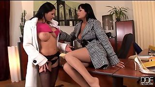 Two Perverted Office Chicks Go Wild On The Boss's Table