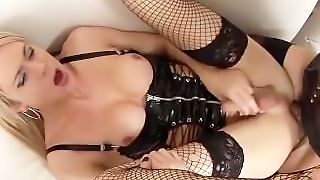 Shemale Is Fucked By Another Shemale Then Toyed In Her Ass