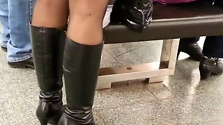 Hot Mature In Pantyhose And Boots , With Face