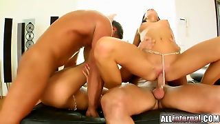 This Hot Foursome Has Some Great Doggystyle Sex And Ends With Some Messy Creampies