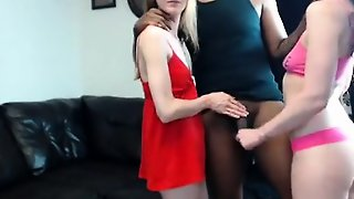 Interracial Threesome With Blowjob
