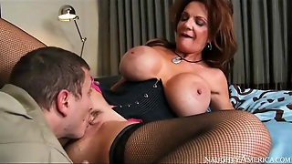 Corset And Fishnets On Naughty Deauxma