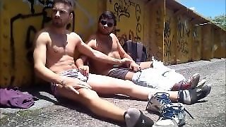 Muscular Buddies Jerk Of Outside And Cum On Their Own Face