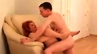 Fat Redhead With Saggy Tits Fucked On A Chair