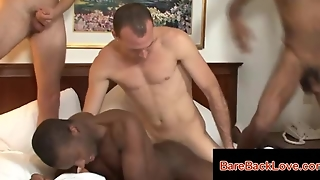 Hard And Deep Interracial Gay Bareback Orgy