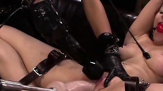 Lesbian Sub Obeys Strapon Mistresses In Threeway